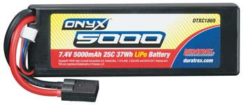 Duratrax 5000mAh 25C 37Wh 2S 7.4V LiPo Battery w/Traxxas High Current Connector DTXC1865