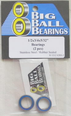 "1/2x3/4x5/32"" Blue Rubber Sealed Stainless Bearings (2 Pieces)"