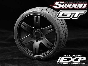 Sweep Racing Kyosho Inferno 1/8th GT2  45Deg EXP Treaded Tires (Black Wheels)