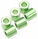 Axial 6x6mm Green Alloy Spacers for Rock Crawlers (6pcs)