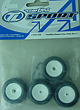 Team Losi Front/Rear Wheels & Tires, White/Micro-T/B/DT  LOSB1526