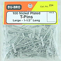 "100 Large Nickel Plated T-Pins (1 1/2"" Long)"