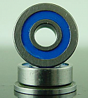 "1/8 x 5/16 x 9/64"" FLANGED Stainless Blue Rubber Sealed Bearing  FR2-52RS"