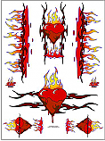 "Racers Edge 7 x 8"" Flaming Hearts Decal Sheet  RCESIC019"