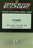 Racers Edge 4mm Aluminum Flanged Thin Lock Nuts, Silver (4)  RCE10280S