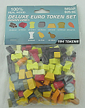 Deluxe Wooden Euro Token Set Wood/Brick/Gold/Stone, etc by MayDay Games MDG7026