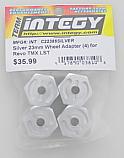 Integy Silver Alloy 23mm Wheel Hub Adapter Set/T-Maxx/REVO/LST  INTC22386SILVER