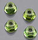 Traxxas 4mm Green Anodized Flanged Nylon Locking Nuts TRA1747G