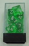 Chessex Translucent Green Dice w/White Markings 7-Dice Set (D20/12/10/%/8/6/4) CHX23005