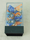 Chessex Gemini 2 Blue/Orange Dice w/White Markings 7-Dice Set (D20/12/10/%/8/6/4) CHX26452