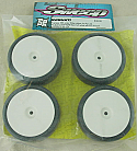 Sweep Racing 28R 1/10th Scale Slick Touring Car Rubber Tires w/Soft White Wheels/ MEd Inserts SWPR28WM