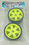 Sweep Racing Kyosho Inferno 1/8th GT2  45Deg Slick Tires w/Full Face Inserts/Yellow Wheels SWPS40145Y6PLSS