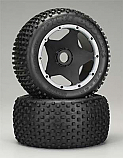HPI Racing Baja 5B Rear Dirt Buster Block Tires S Compound Mounted Black Wheels